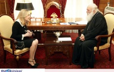 Στον Αρχιεπίσκοπο Ιερώνυμο η Μαριάννα Βαρδινογιάννη (ΦΩΤΟ)