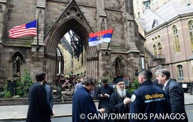 Ο Αρχιεπίσκοπος Αμερικής στον ολοκαυτωθέντα Σερβικό Ορθόδοξο Ναό του Μανχάτταν (ΦΩΤΟ)