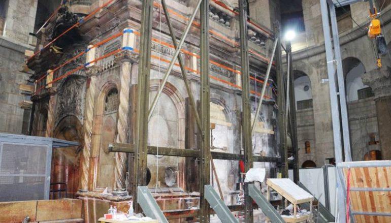 Παρουσίαση των εργασιών αποκατάστασης του Κουβουκλίου του Παναγίου Τάφου (ΒΙΝΤΕΟ)