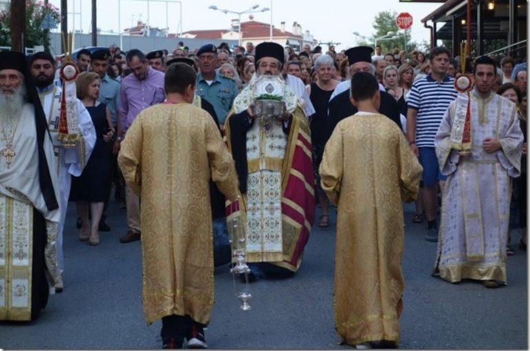 Υποδοχή λειψάνου του Αγίου Διονυσίου του εν Ολύμπω στην Κατερίνη (ΦΩΤΟ)