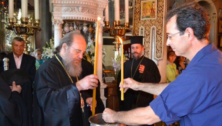 Ο Μητροπολίτης Ιερισσού Θεόκλητος στην Μεγαλόχαρη της Τήνου (ΦΩΤΟ)