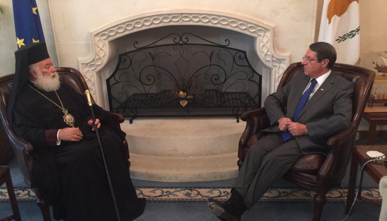 Συνάντηση του Πατριάρχου Αλεξανδρείας με τον Πρόεδρο της Κύπρου (ΦΩΤΟ)