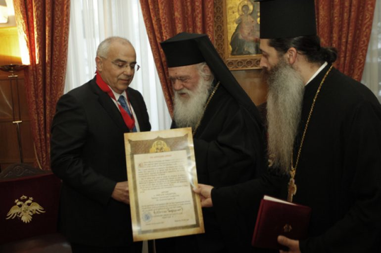 Ο Αρχιεπίσκοπος Αθηνών τίμησε τον Πρόεδρο του Δ.Σ. της Τράπεζας Eurobank (ΦΩΤΟ)