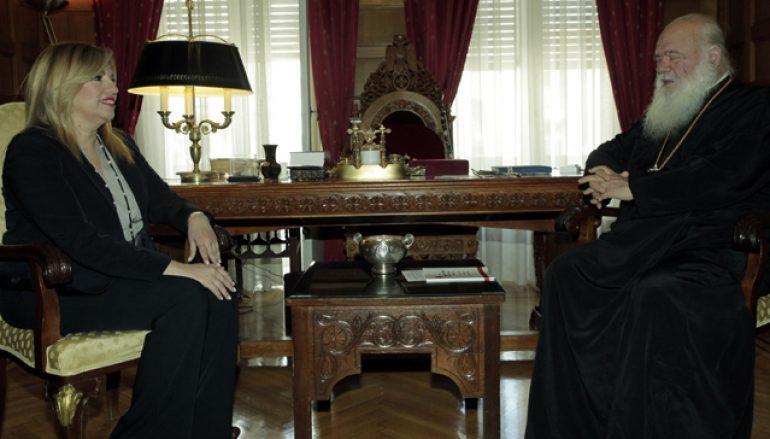 Στον Αρχιεπίσκοπο Αθηνών η Φώφη Γεννηματά (ΦΩΤΟ)