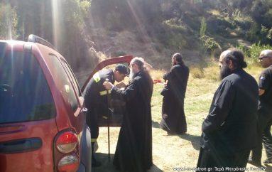 Ο Μητροπολίτης Πατρών στην πυρκαγιά πλησίον της Ι. Μ. Παναγίας Μαρίτσης (ΦΩΤΟ)