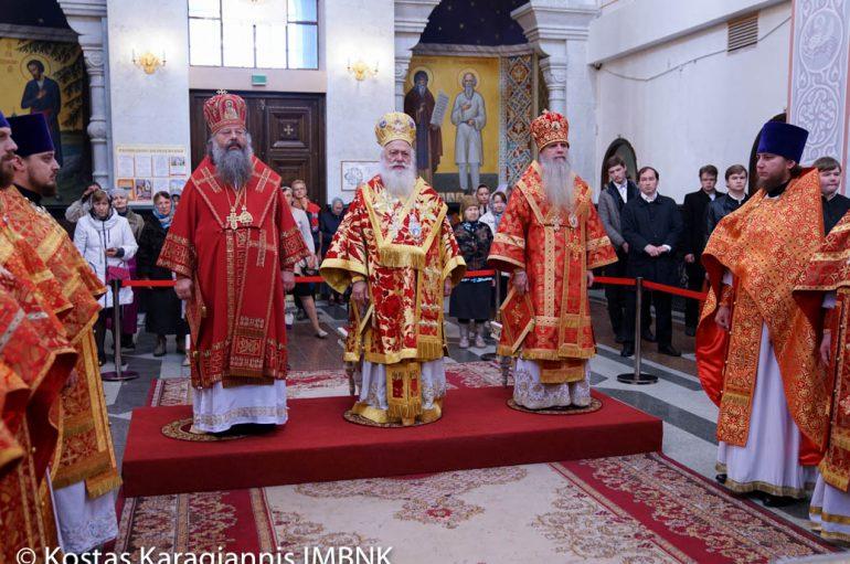 Θεία Λειτουργία στο Αικατερίνμπουργκ ενώπιον των λειψάνων του Αγίου Δημητρίου
