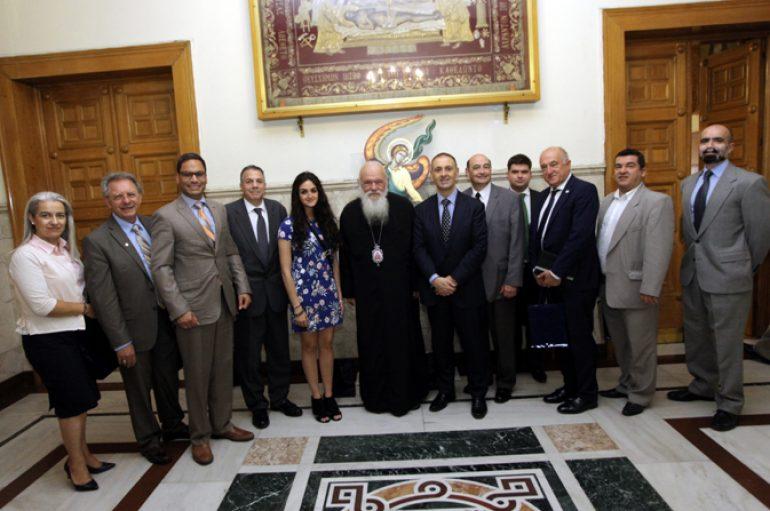 Το Προεδρείο Παγκόσμιας Διακοινοβουλευτικής Ένωσης Ελληνισμού στον Αρχιεπίσκοπο
