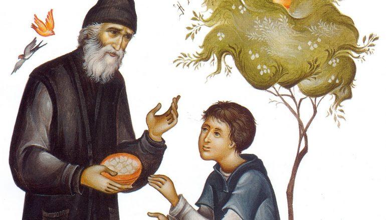 Ένα παιδί μιλάει στον πατέρα του, στον γέροντά του