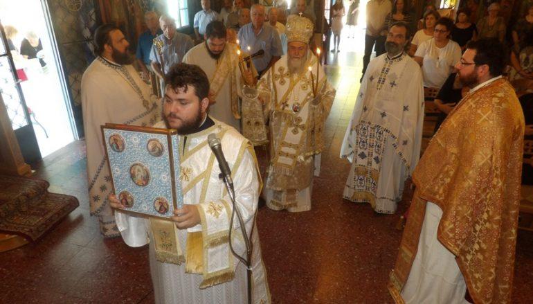 Ο Μητροπολίτης Κορίνθου στον I. Ναό Αγίου Φανουρίου Λουτρακίου (ΦΩΤΟ)