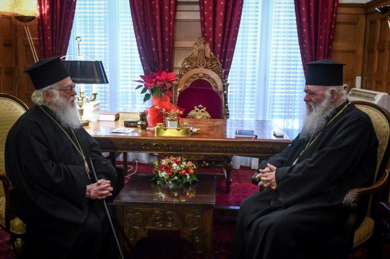 Ο Αρχιεπίσκοπος Αλβανίας Αναστάσιος στον Αρχιεπίσκοπο Ιερώνυμο