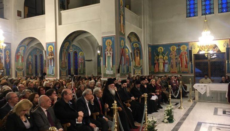 Ο Αρχιεπίσκοπος στην ομιλία του Βασ. Τσαμπρόπουλου στον Αγ. Αθανάσιο Πολυδρόσου