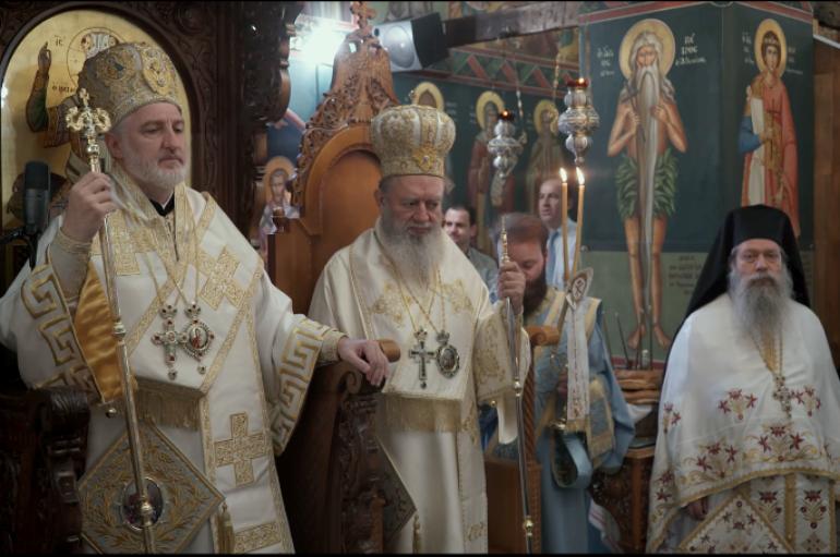 Ο νέος Αρχιεπίσκοπος Αμερικής στην Ι. Μονή Οσίου Δαυΐδ Ευβοίας