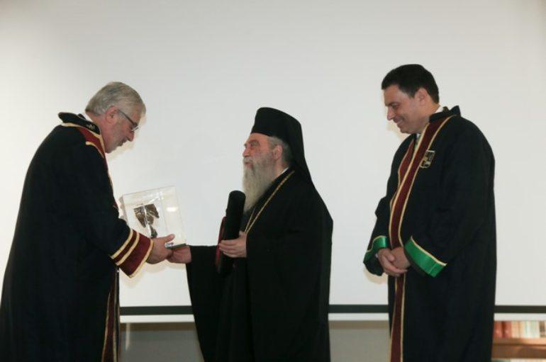 Αναγόρευση του Μητροπολίτη Σπάρτης σε επίτιμο Διδάκτορα του Παν. Πειραιώς