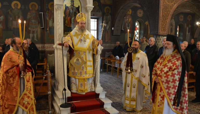 Ο Μητροπολίτης Ιερισσού στον Ι. Ναό Αγίας Βαρβάρας Τρίπολης