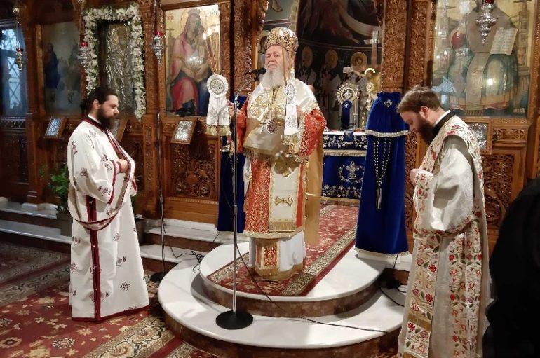 Ο Μητροπολίτης Χαλκίδος στην ενορία του Αγίου Νικολάου Ψαχνών