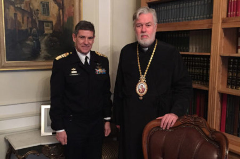 Ο Αντιναύαρχος Ιωάννης Παυλόπουλος στον Μητροπολίτη Βελγίου