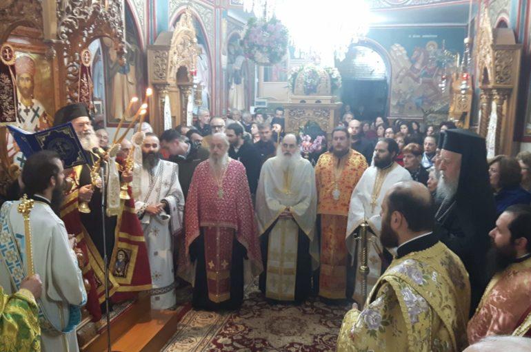 Πολυαρχιερατικός Εσπερινός του Οσίου Πορφυρίου στον Άγιο Ιωάννη Αλιβερίου