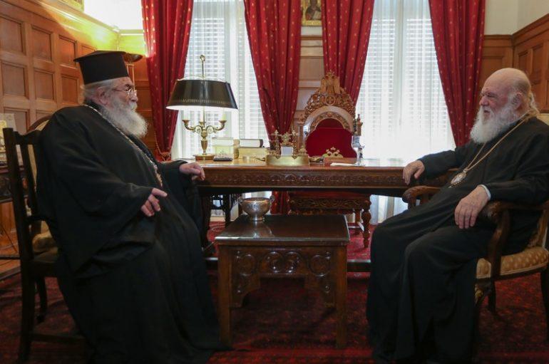 Ο Πρέσβης της Παλαιστίνης και ο Αρχιεπίσκοπος Σινά στον Αρχιεπίσκοπο