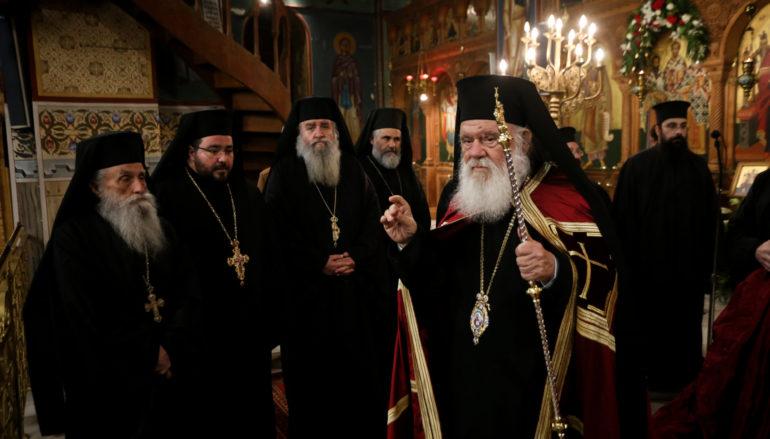Ο Αρχιεπίσκοπος στον Ι. Ναό Τριών Ιεραρχών Πετραλώνων
