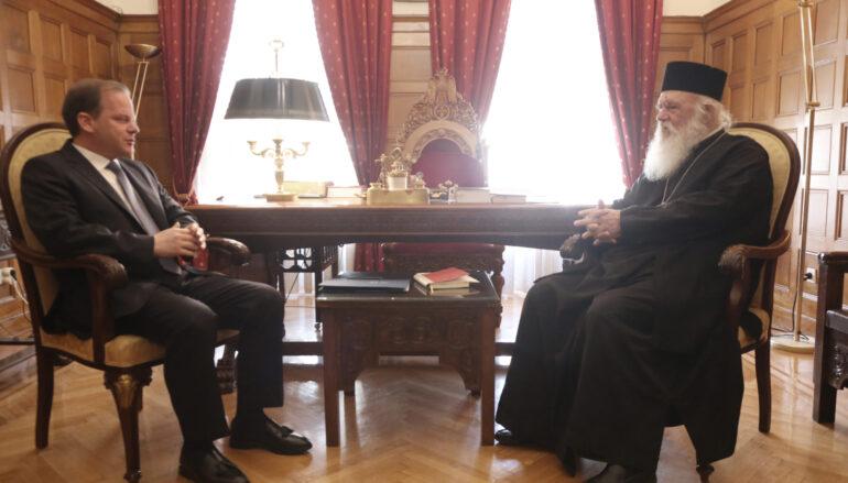 Στον Αρχιεπίσκοπο Ιερώνυμο ο Υπουργός Μεταφορών Κ. Καραμανλής