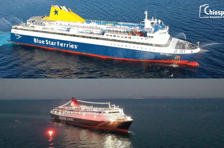 Απόδοση τιμών στην Αγ. Παρασκευή από πλοία στο Καστέλο της Χίου