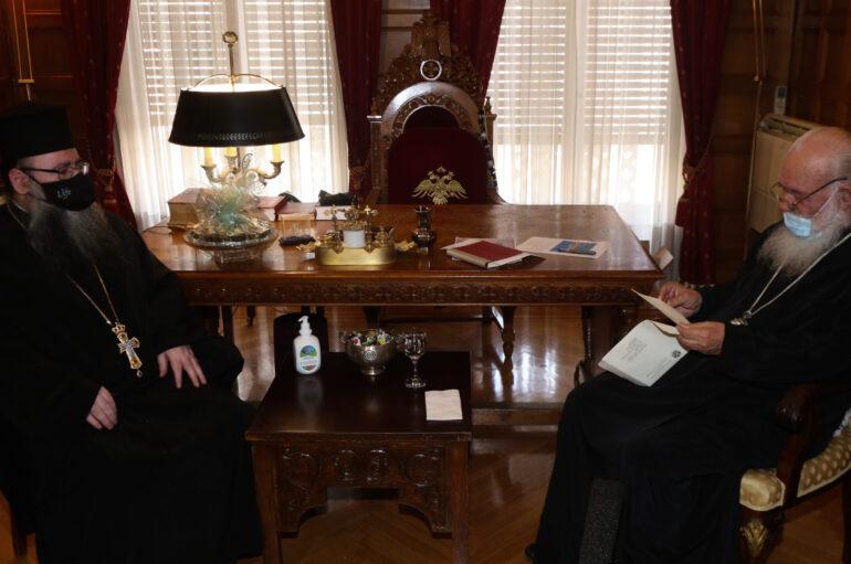 Ο νέος Έξαρχος του Παναγίου Τάφου στον Αρχιεπίσκοπο Ιερώνυμο