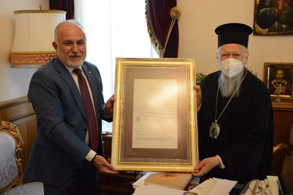 Ο Πρόεδρος της Τουρκικής Ερυθράς Ημισελήνου στον Οικ. Πατριάρχη