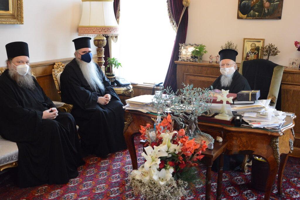 Ο Μητροπολίτης Καλαμαριάς και ο Ηγούμενος της Μονής Εσφιγμένου στο Φανάρι